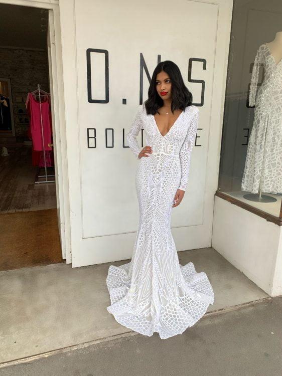 Ae'lkemi Stardust Sequin Gown Floor Length, Long-Sleeve, V-Neck Ivory