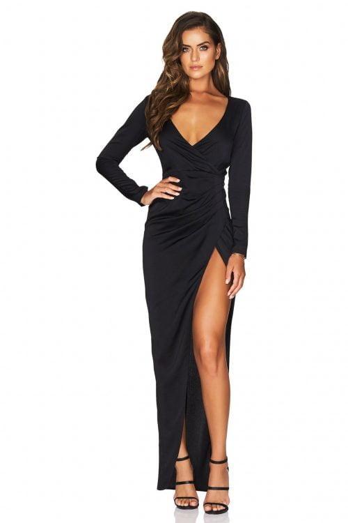 Nookie Saskia Long Sleeve Gown Floor Length, Long-Sleeve, V-Neck Black