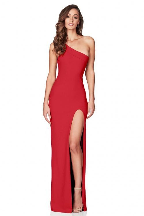 Nookie Mila Gown Floor Length, Off-Shoulder Red