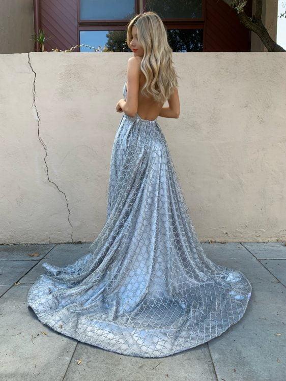 D'Lelle Gabrielle Gown Backless, Floor Length, V-Neck Silver