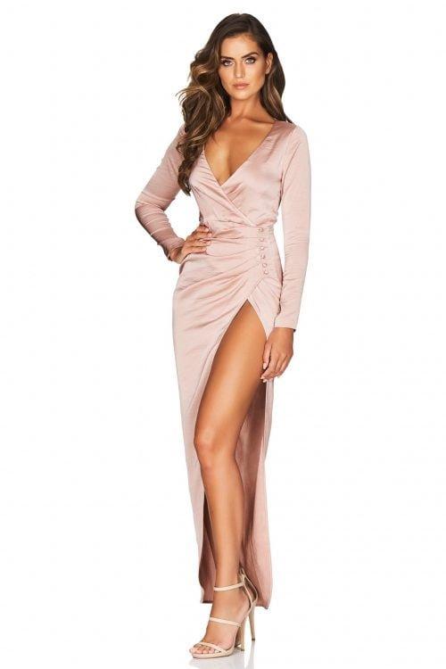 Nookie Saskia Long Sleeve Gown Floor Length, Long-Sleeve, V-Neck Nude
