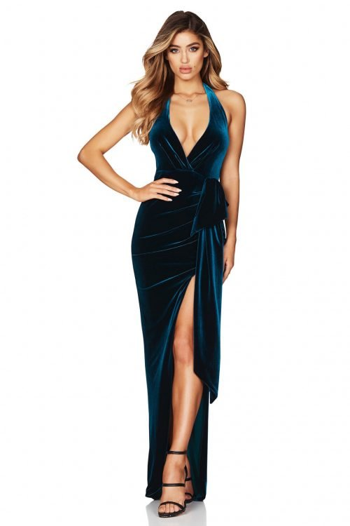 Nookie Vixen Velvet Gown Backless, Floor Length, V-Neck Teal
