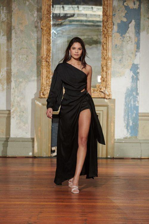 Elliatt Rhodes Dress Floor Length, Long-Sleeve, Maxi, Off-Shoulder Black