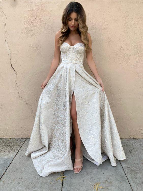 D'Lelle Stephanie Gown Floor Length, Maxi, Strapless Silver