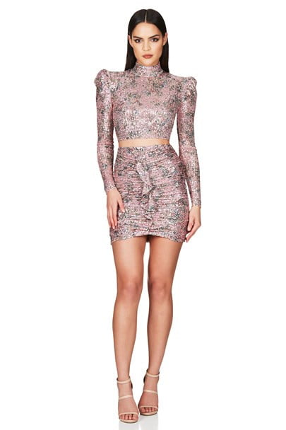 Nookie Forever Crop And Skirt Set Long-Sleeve, Mini, Two-piece Set Pink