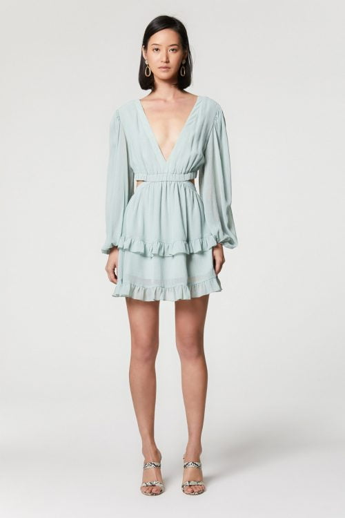 Elliatt Shale Dress Backless, Long-Sleeve, Mini Green