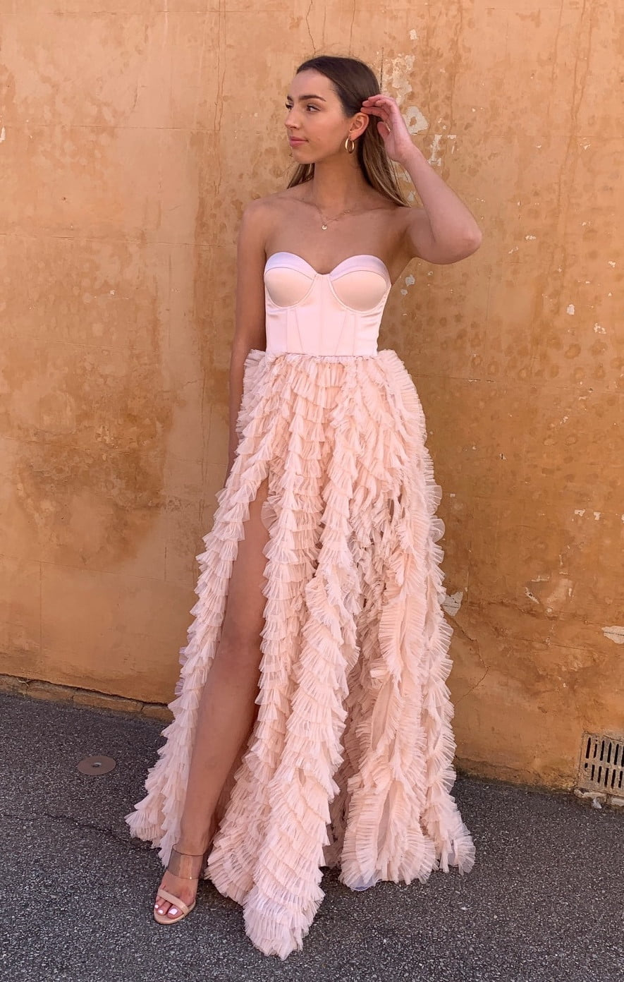 D'Lelle Catherine Gown Floor Length, Off-Shoulder, Strapless Pink