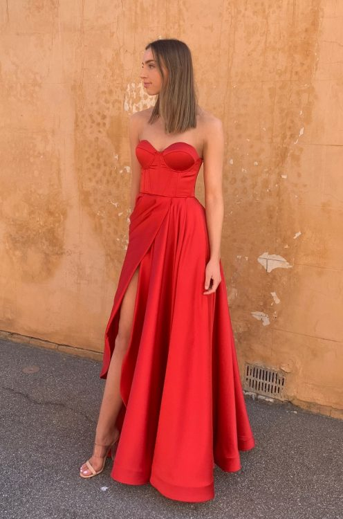 D'Lelle Stephanie Gown Floor Length, Maxi, Strapless Red