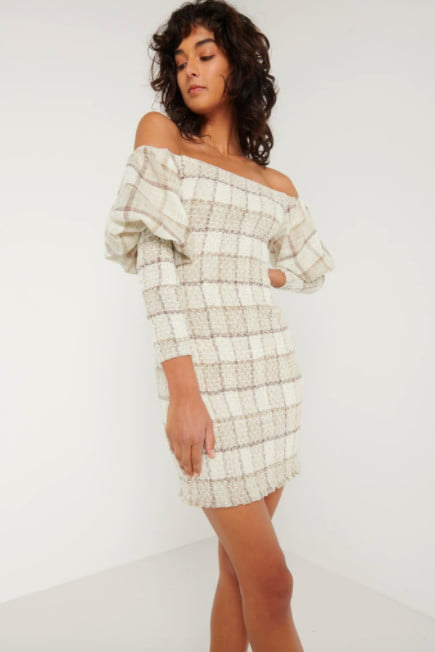 Elliatt Willa Dress Long-Sleeve, Mini, Off-Shoulder Nude