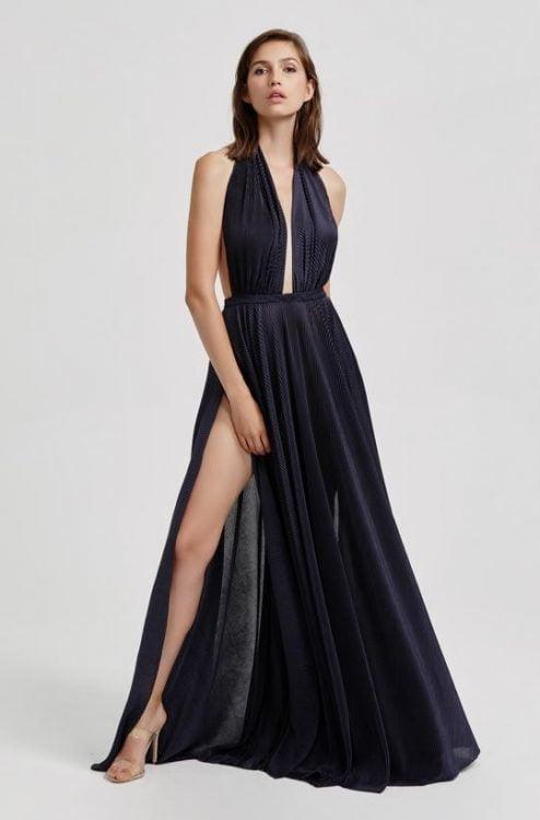 Lexi Natalia Gown Backless, Floor Length, Maxi Navy