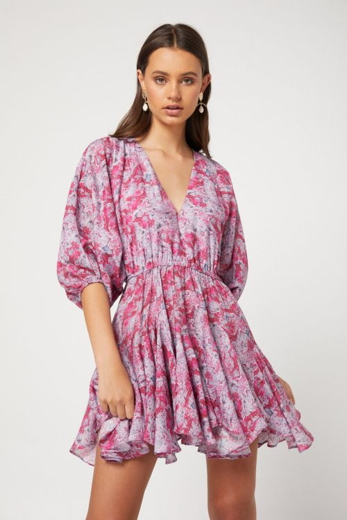 Elliatt Anguilla Dress Long-Sleeve, Mini, V-Neck Print
