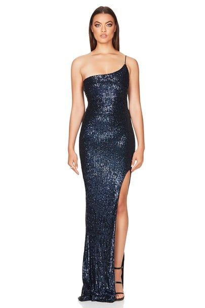 Nookie Demi One Shoulder Gown Floor Length, Maxi, Off-Shoulder Navy