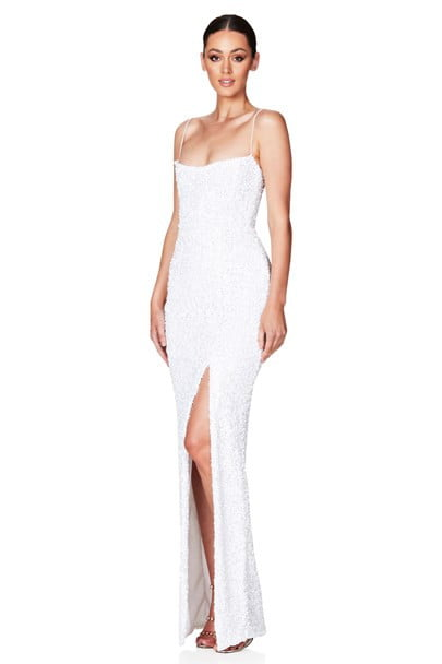 Nookie Confetti Gown Floor Length White