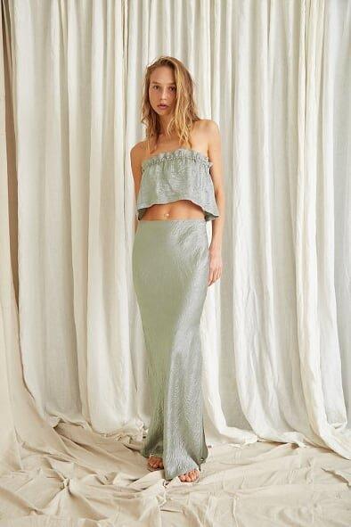 Third Form Waters Edge Bias Maxi Top & Skirt Midi, Strapless, Two-piece Set Khaki