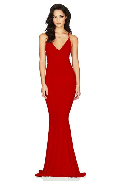 Nookie Hustle Gown Backless, Floor Length Red