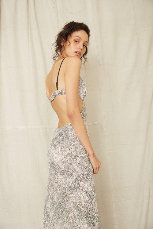 Third Form Intrepid Tri Midi Dress Backless, Maxi, V-Neck Print