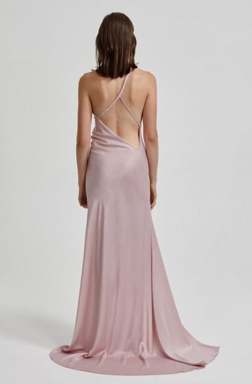 Lexi Colina Gown Backless, Floor Length, Maxi, Off-Shoulder Lilac