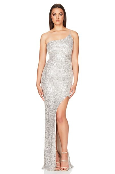 Nookie Demi One Shoulder Gown Floor Length, Maxi, Off-Shoulder Silver