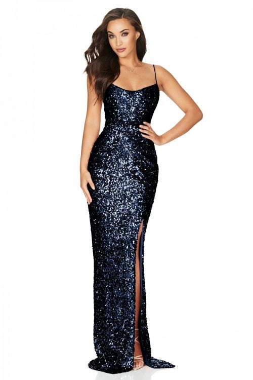 Nookie Confetti Gown Floor Length Navy