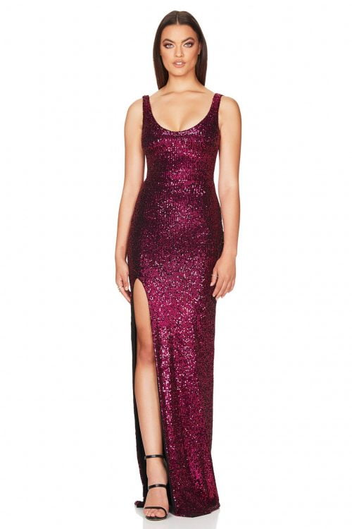 Nookie Demi Gown Backless, Floor Length, Maxi Pink