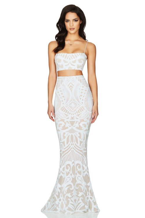 Nookie Mon Cherie Sequin Top & Skirt Floor Length, Two-piece Set White