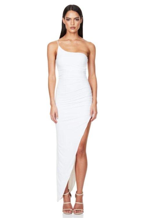 Nookie Aria One Shoulder Gown Floor Length, Midi, Off-Shoulder White