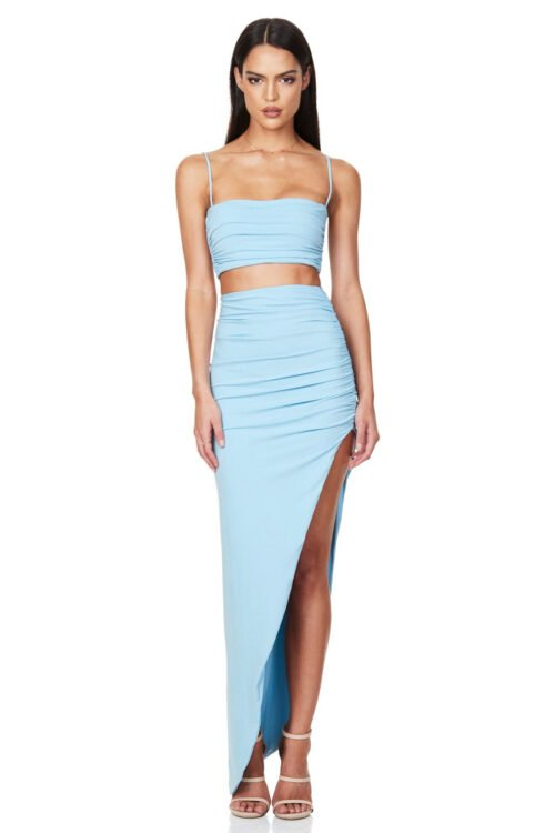 Nookie Aria Crop And Skirt Set Floor Length, Midi, Two-piece Set Blue