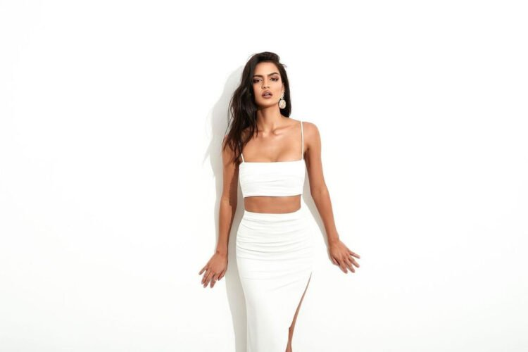 Nookie Aria Crop And Skirt Set Floor Length, Midi, Two-piece Set White