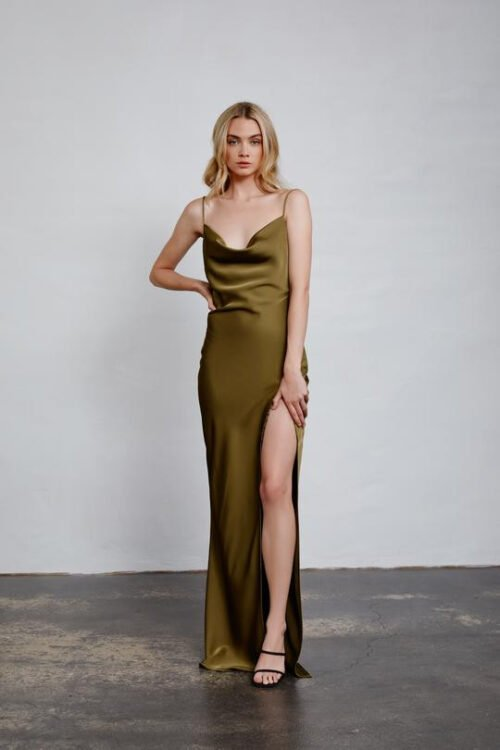 Lexi Alika Gown Backless, Floor Length, Maxi Olive