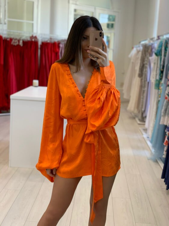 Rat & Boa Harlequin Dress Orange Long-Sleeve, Mini, V-Neck Orange