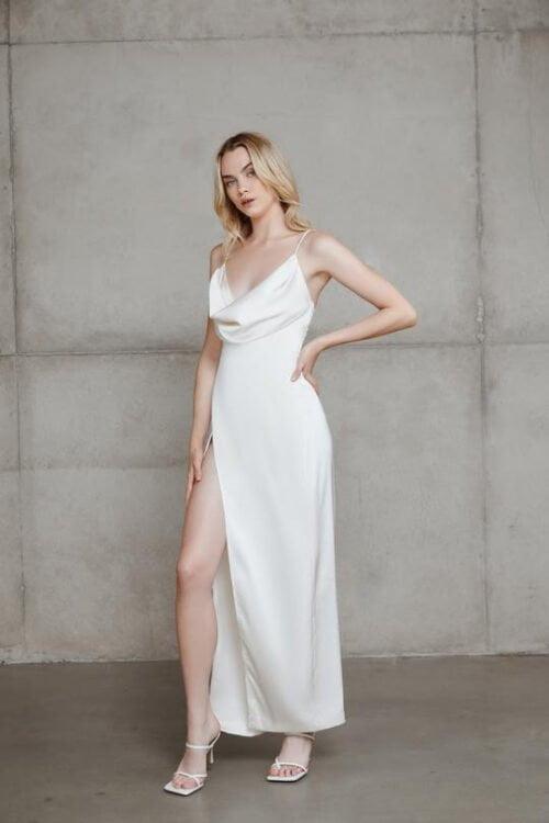 Lexi Mila Gown Backless, Floor Length, Maxi, V-Neck Ivory