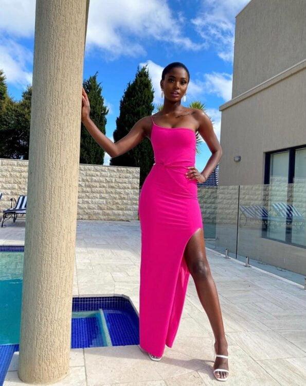 Nookie Lust One Shoulder Gown Floor Length, Off-Shoulder Pink
