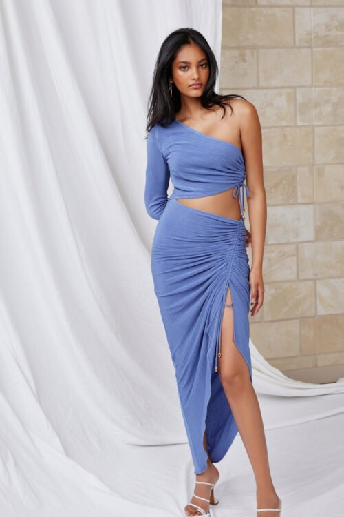 Lexi Neva Dress Floor Length, Midi, Off-Shoulder Blue